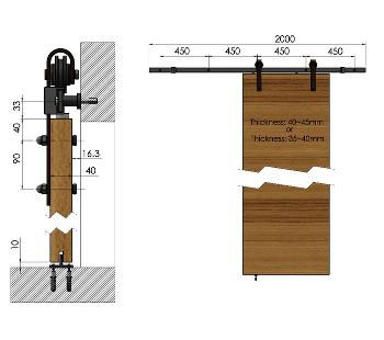 Rail 2460 bl rails de portes coulissantes for Quincaillerie porte fenetre
